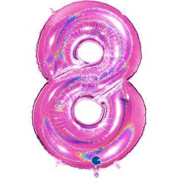 Ballon géant helium chiffre 8 holographique fuchsia