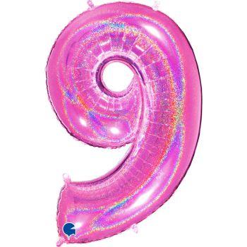 Ballon géant helium chiffre 9 holographique fuchsia