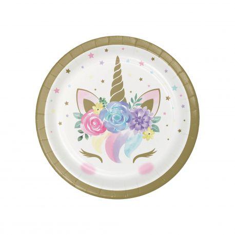 8 Assiettes Licorne baby en carton pour la décoration de table d'anniversaire de votre enfant sur le thème des LicorneDimensions :...