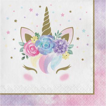 16 Serviettes baby Licorne