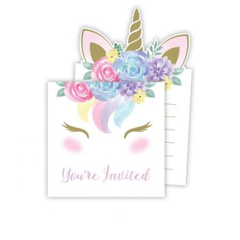 8 Invitations baby Licorne