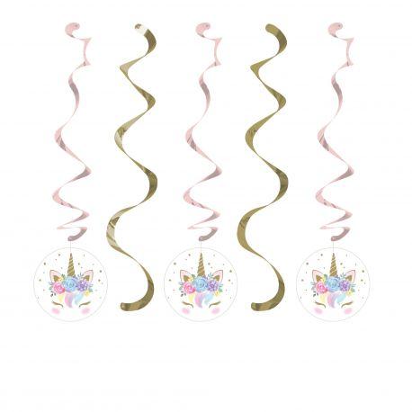 5 guirlandes suspensions Licorne baby pour la décoration de table d'anniversaire de votre enfant sur le thème des LicorneDimensions...