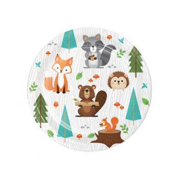 8 Petites assiettes animaux de la forêt