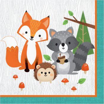 16 Serviettes animaux de la forêt
