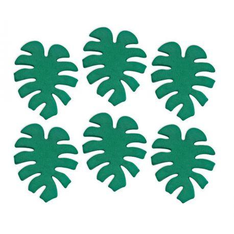 6 mini décors en sucre en forme de feuilles tropicales pour une belle décoration de gâteau d'anniversaire