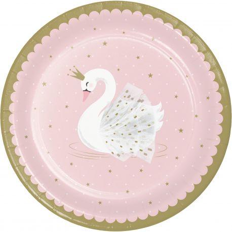 8 Assiettes en carton swan party idéal pour une belle décoration de table d'anniversaireDimensions: Ø 23 cm