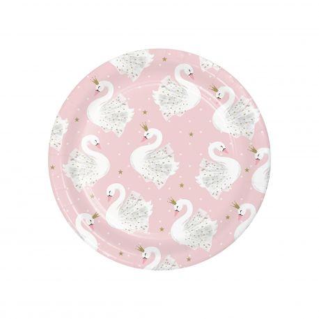 8 petites assiettes en carton Swan party idéal pour une belle décoration de table d'anniversaireDimensions: Ø 18 cm