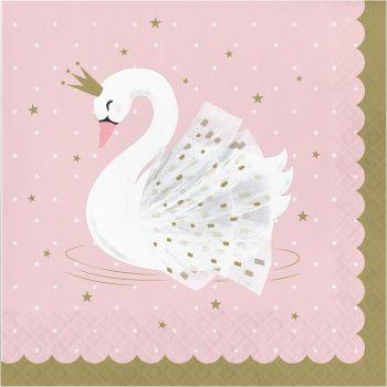16 Serviettes Swan party