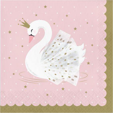 16 Serviettes en papier Swan party idéal pour une belle décoration de table d'anniversaire sur le thème de la jungle et de ses...