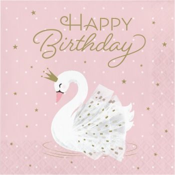 16 Serviettes Happy Birtday Swan party