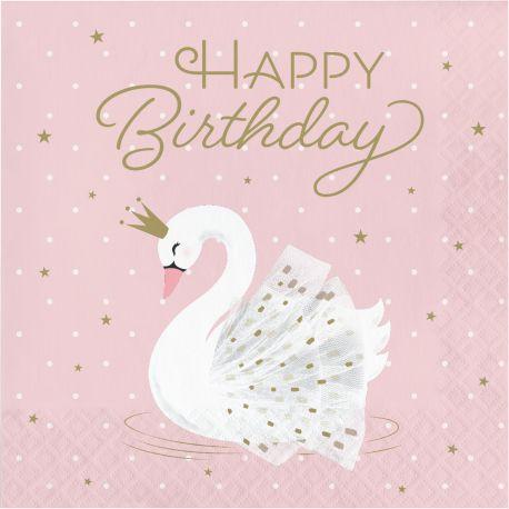 16 Serviettes en papier happy birthday Swan party idéal pour une belle décoration de table d'anniversaire sur le thème de la jungle et...