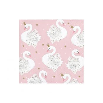 16 petites serviettes Swan party