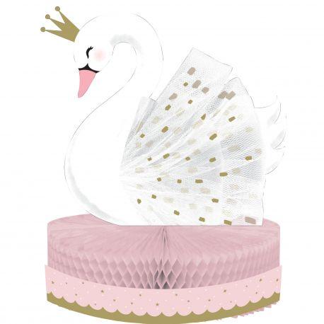 Centre de table en carton Swan party idéal pour une belle décoration de table d'anniversaireDimensions: H30cm x Ø23cm