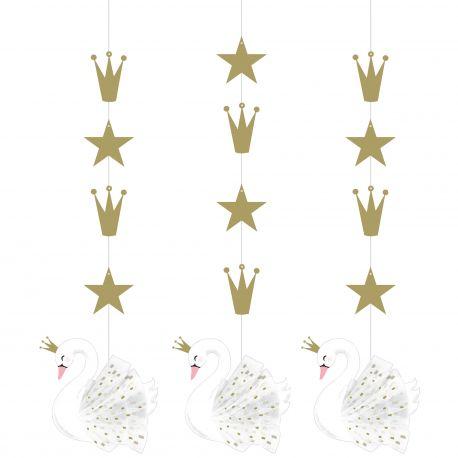 3 Suspensions Happy Birthday Swan party idéal pour une belle décoration de fête d'anniversaire