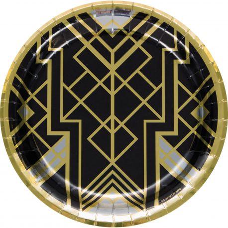 8 Assiettes en carton Gatsby idéal pour une belle décoration de table d'anniversaireDimensions: Ø 23 cm