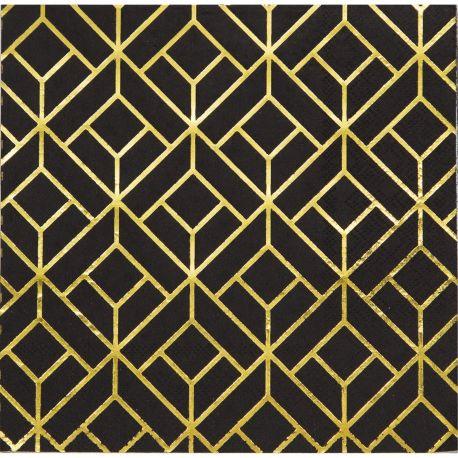 16 serviettes en papier Gatsby idéal pour une belle décoration de table d'anniversaireDimensions: 33cm x 33cm
