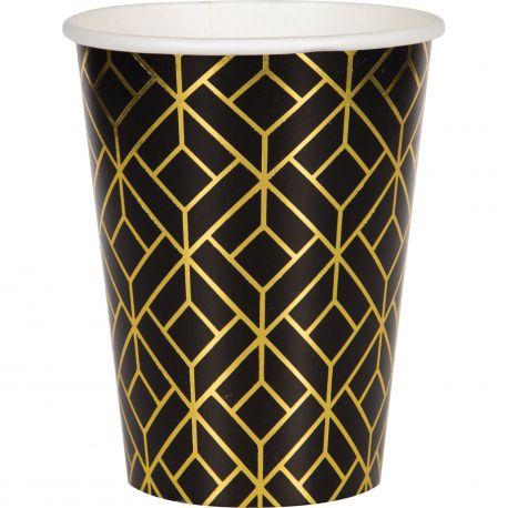 8 gobelets en carton Gatsby idéal pour une belle décoration de table d'anniversaireDimensions: 25cl