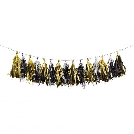Guirlande de pompons métallisés or et argent idéal pour une belle décoration de fête thème année 20, Gatsby le magnifiqueDimensions:...
