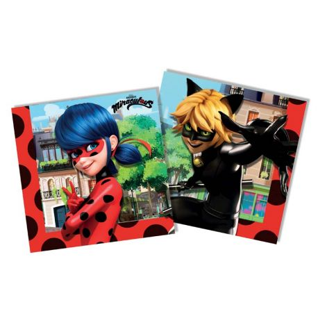 20 Serviettes en papier à l'effigie de Ladybug et du chat noir héros du dessin animée MiraculousDimensions: 33cm x 33cm