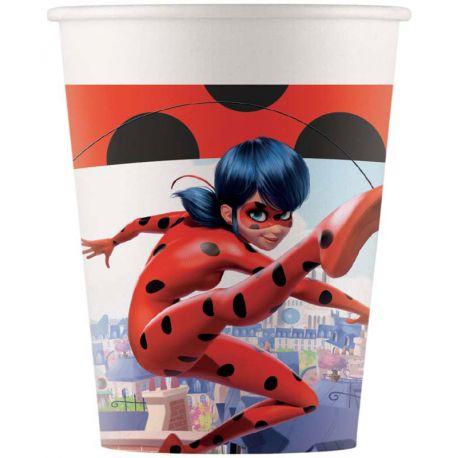 8 Gobelets en carton à l'effigie de Ladybug l'héroïne du dessin animée MiraculousContenance 28cl