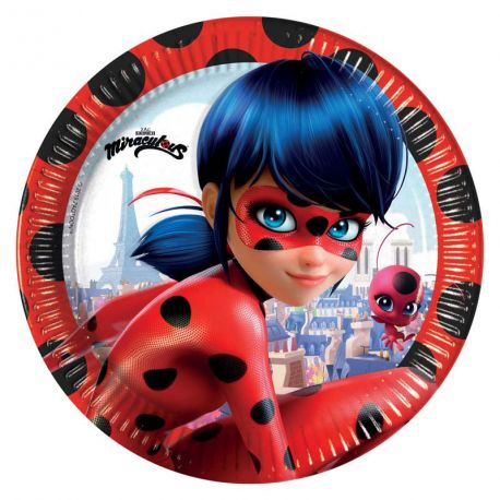 8 Assiettes en carton à l'effigie de Ladybug l'héroïne du dessin animée MiraculousØ23cm