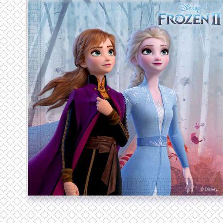 20 serviettes en papier à l'effigie de Anna et Elsa les célèbres soeurs du dessin animée La Reine des Neiges II pour une belle...