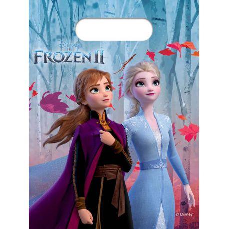 8 Sachets cadeaux en plastique à l'effigie de Anna et Elsa les célèbres soeurs du dessin animée La Reine des Neiges II pour une belle...