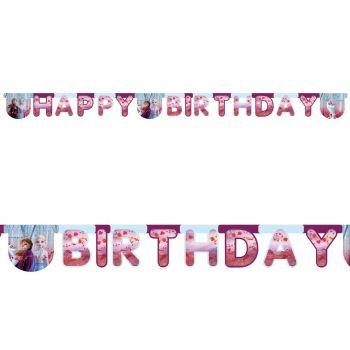 Banderole en carton Happy Birthday Reine des Neiges II