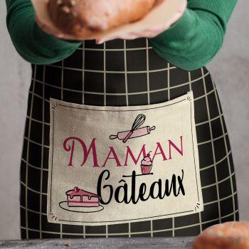Tablier à carreaux Décor Maman gâteaux