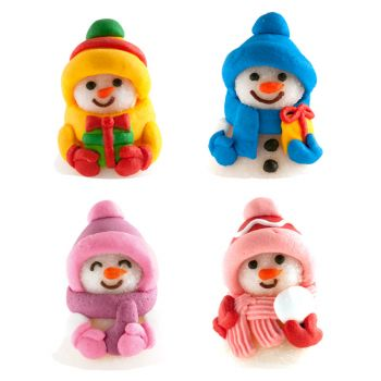 4 Figurines bonhomme de neige gélifiés en sucre