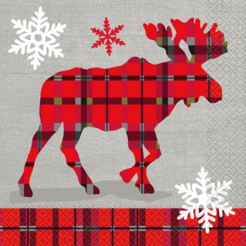 16 Serviettes papier cerf plaid