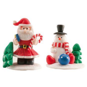 Kit 2 décors bûche Noël modelage