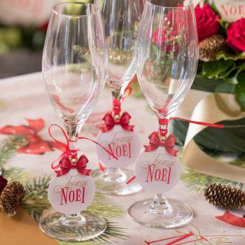 12 Marques places Boules de Noël rouge