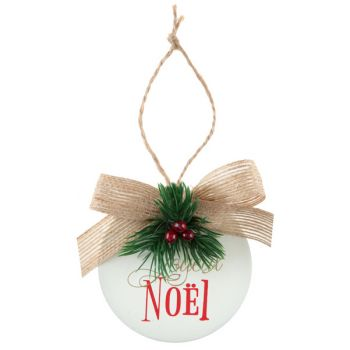 Suspension Boule de Noël rouge en bois