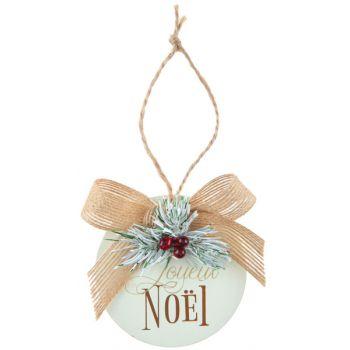 Suspension Boule de Noël or en bois