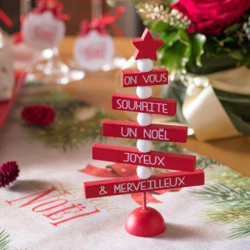Sapin en bois Message Noël rouge