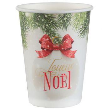 10 gobelets Boule de Noël rouge
