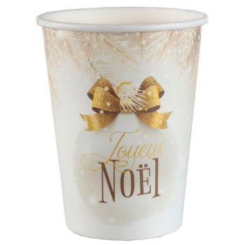 10 gobelets Boule de Noël or