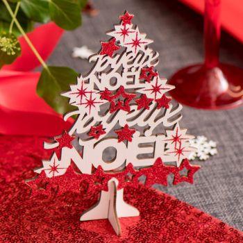 Sapin Joyeux Noël rouge pailleté