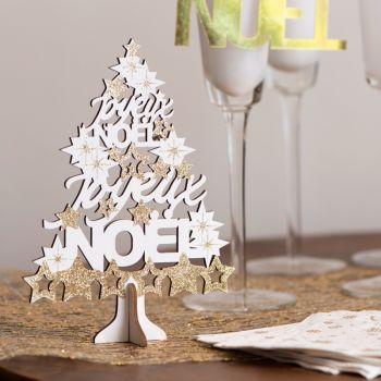 Sapin Joyeux Noël or pailleté