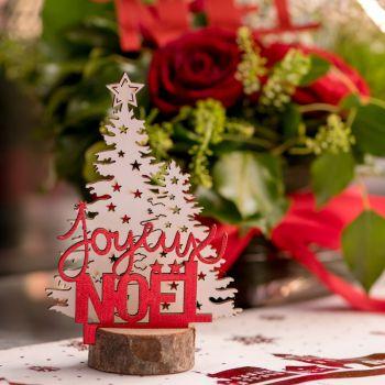 Décor Sapin Joyeux Noël rouge