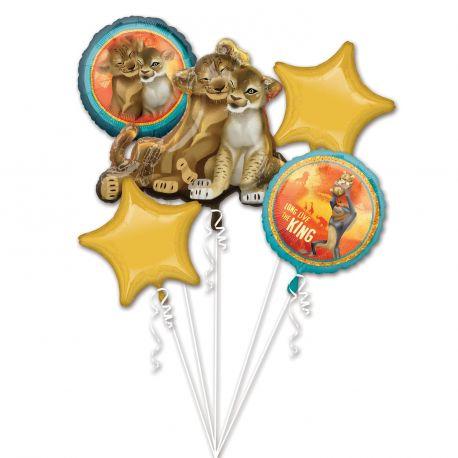 Superbe bouquet de ballons en aluminium à gonfler à l'hélium décor Le Roi lion idéal pour la décoration d'une belle fête...