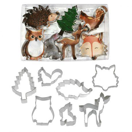 Kit de 7 Emporte pièces thème animaux de la forêt pour créer vos deco de gâteau en pâte à sucre et biscuits.Recette de biscuit...