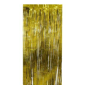 Rideau de franges métalllisés or