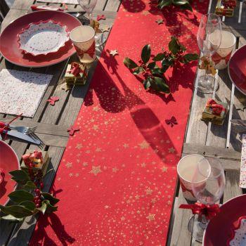 Chemin de table Pluie d'étoiles pailletés rouge