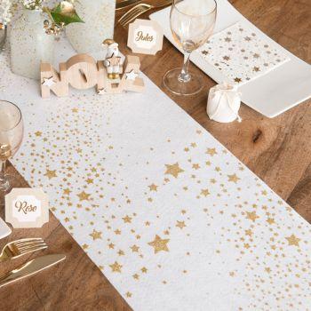 Chemin de table Pluie d'étoiles pailletés blanc et or