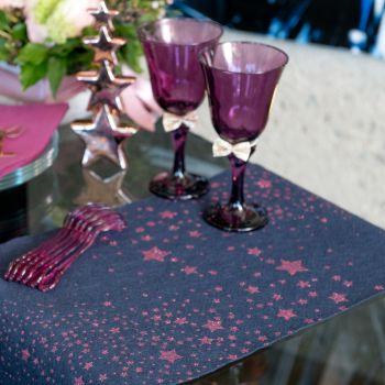 Chemin de table Pluie d'étoiles pailletés bleu et violet