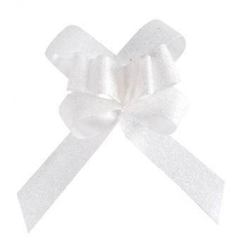 10 Petits noeuds automatique pailleté blanc