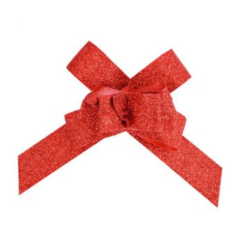 10 Petits noeuds automatique pailleté rouge
