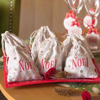 2 Sachets en coton Boule de Noël rouge